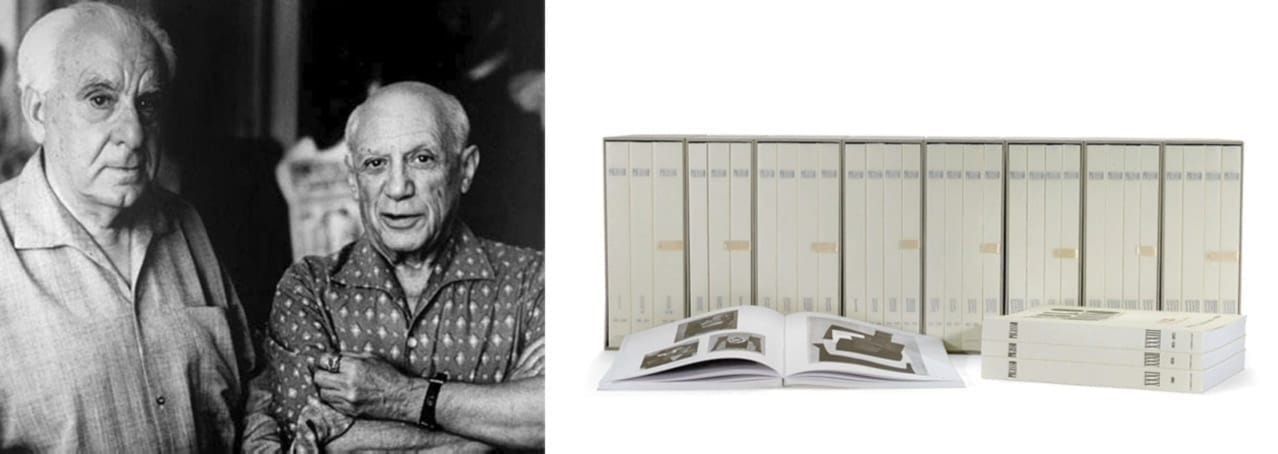 Left: Christian Zervos and Pablo Picasso in 1960. Right: The new edition of the Zervos catalogue raisonné, 2013. Both Courtesy of Cahiers d'Art
