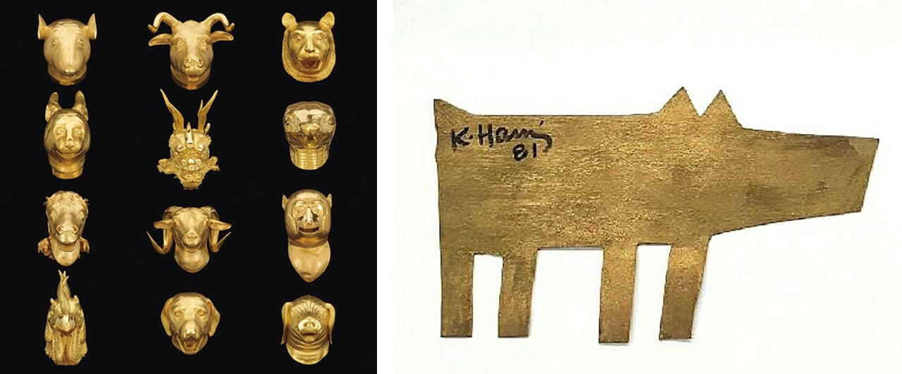 Left: Ai Weiwei, Circle of Animals/Zodiac Heads, 2010. Private collection. Courtesy of The Nevada Museum of Art. Right: Keith Haring, Dog, 1981. Courtesy of Gregg Shienbaum Fine Art and fineartmultiple