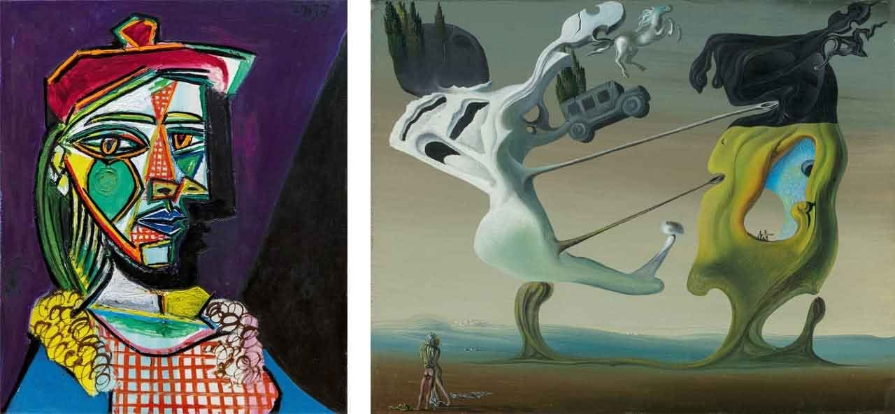 Pablo Picasso, Femme au beret et à la robe quadrille and on the right Salvador Dalí, Maison pour Erotomane