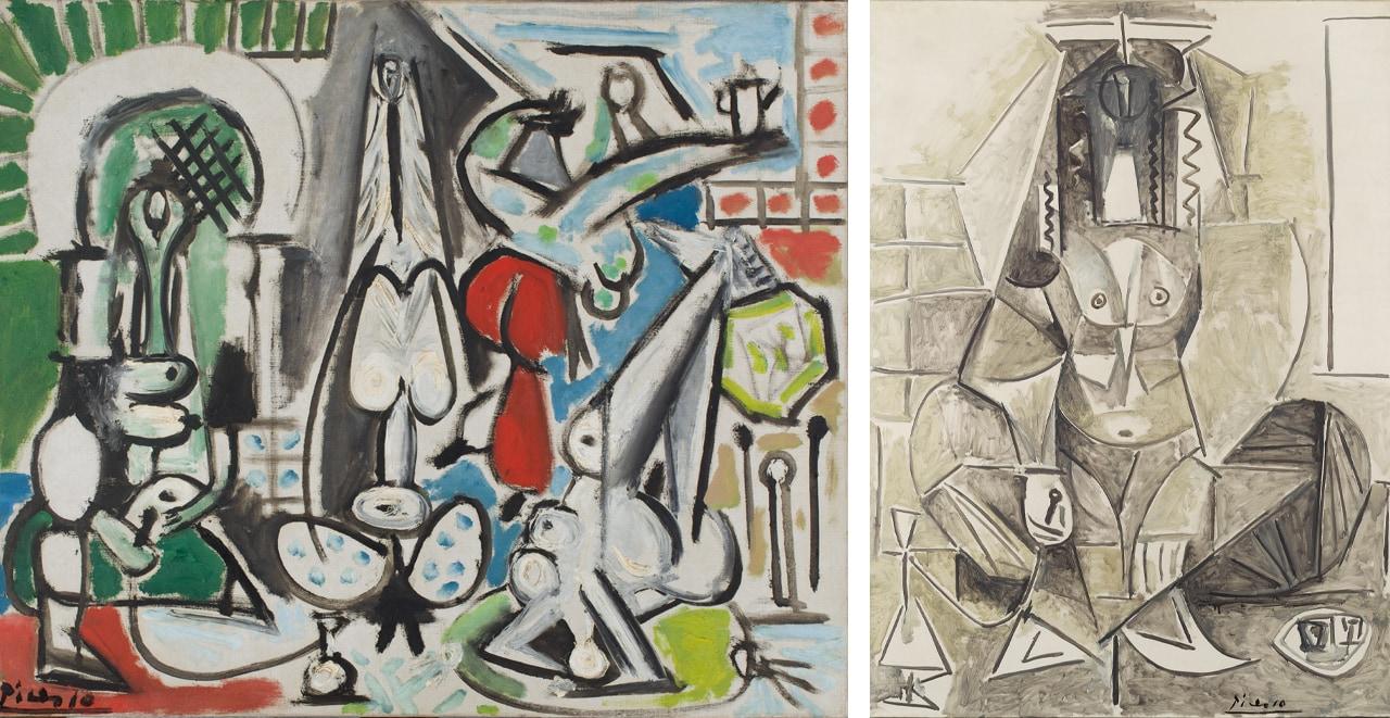 Left: Pablo Picasso, Les Femmes d'Alger (Version C), 1954. Image: Succession Picasso / VG Bild-Kunst, Bonn 2021. Right: Pablo Picasso, Les Femmes d'Alger (Version L), 1955. Staatliche Museen zu Berlin, Nationalgalerie / Image: Succession Picasso / VG Bild-Kunst, Bonn, 2021
