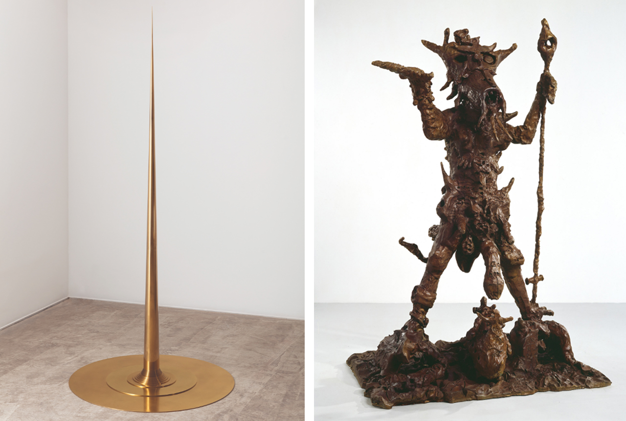 Left: Apolinário, Artur Lescher, 2014. Courtesy of the artist and Almine Rech. Image: © Everton Ballardin. Right: Mama Johnny (Noel Coward is Back), Jonathan Meese, 2005. Image: © Jan Bauer