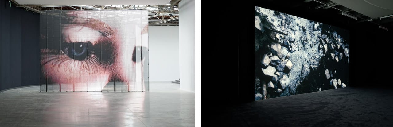 Left: Exhibition view, Philippe Parreno, Anywhere, Anywhere, Out Of The World, Palais de Tokyo, 2013. Philippe Parreno, TV Channel, 2013 (detail). Photo: Aurélien Mole. Courtesy of Pilar Corrias Gallery. Right: Exhibition view, Philippe Parreno, Anywhere, Anywhere, Out Of The World, Palais de Tokyo, 2013. Philippe Parreno, C.H.Z. (Continuously Habitable Zones), 2011. Photo: Aurélien Mole. Courtesy of Esther Schipper Gallery