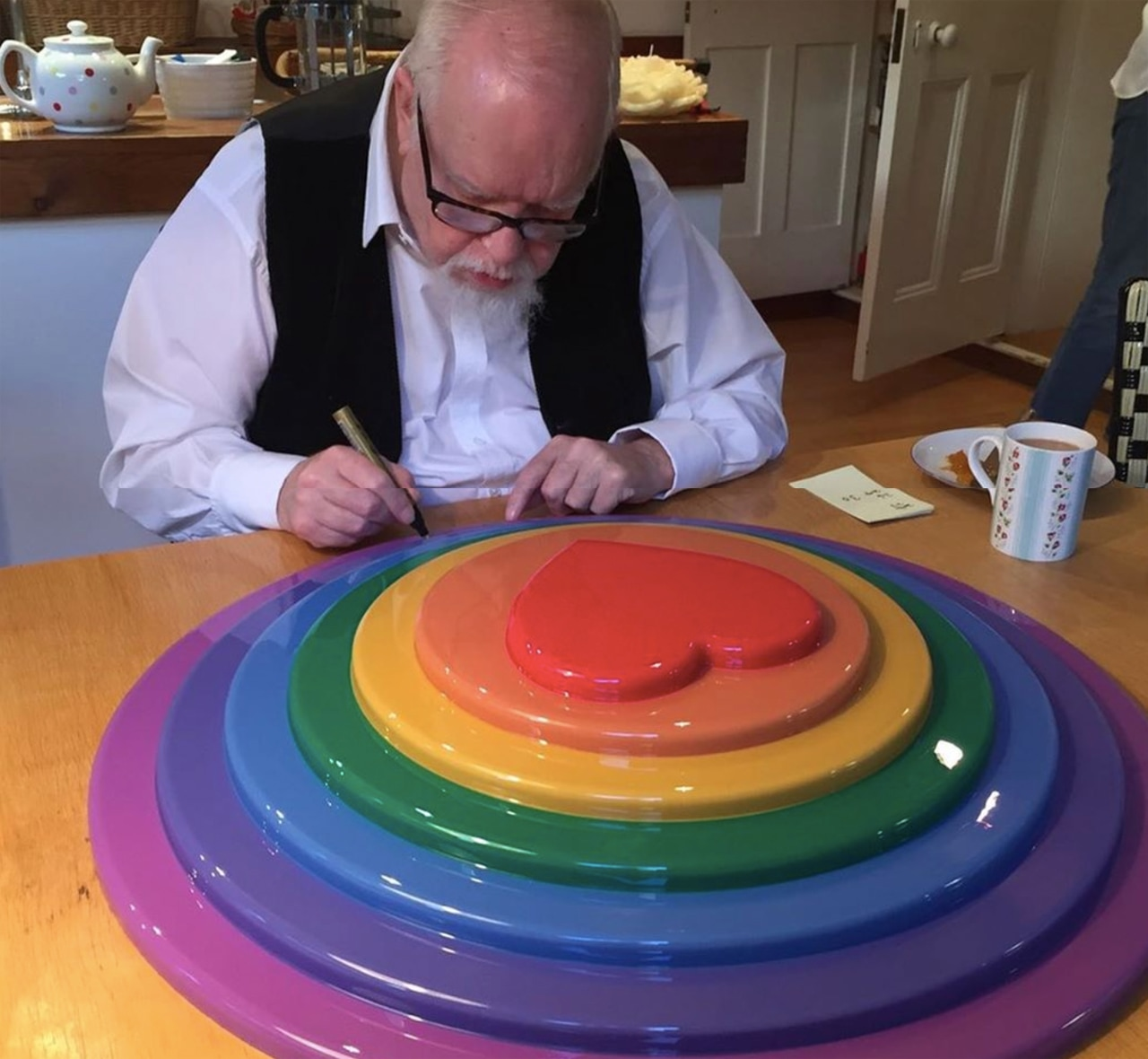 Proceeds from the sale of Peter Blake's 'Rainbow Target' provided by Paul Stolper Gallery and on sale at the London Original Print Fair will go equally to the charity Refuge and the Graeae Theatre Company. Image: Courtesy of Paul Stolper Gallery