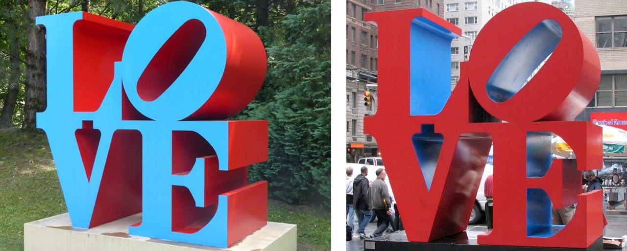 Robert Indiana's Love Sculptures. Images: via Wikimedia Commons