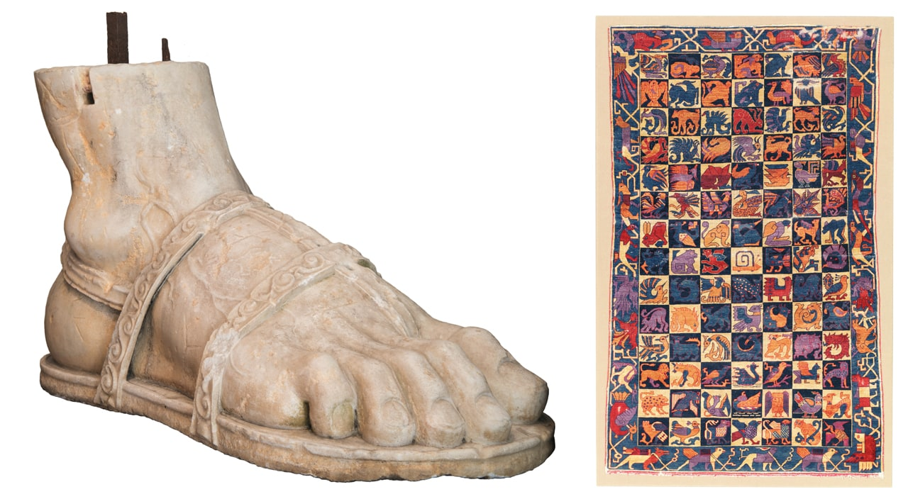 Left: A giant marble foot that is reminiscent of the ancient foot of the Colossus of Constantine. Right: Silk heraldic animal rug, possibly Kashan, Central Persia, circa 1910. Images: © Christie's, London