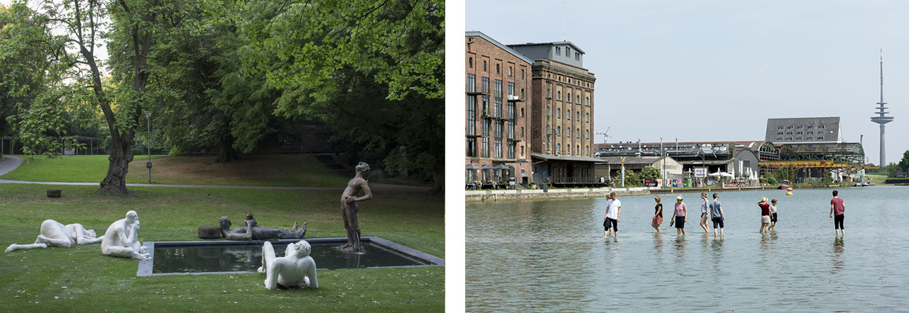 Left: Nicole Eisenman, Sketch for a Fountain. Right: Ayşe Erkmen, On Water.