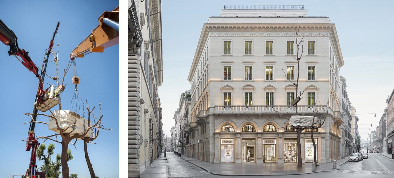 Left: Installing Giuseppe Penone, Foglie di Pietra, Rome 2017. Right: Giuseppe Penone, Foglie di Pietra, Rome 2017