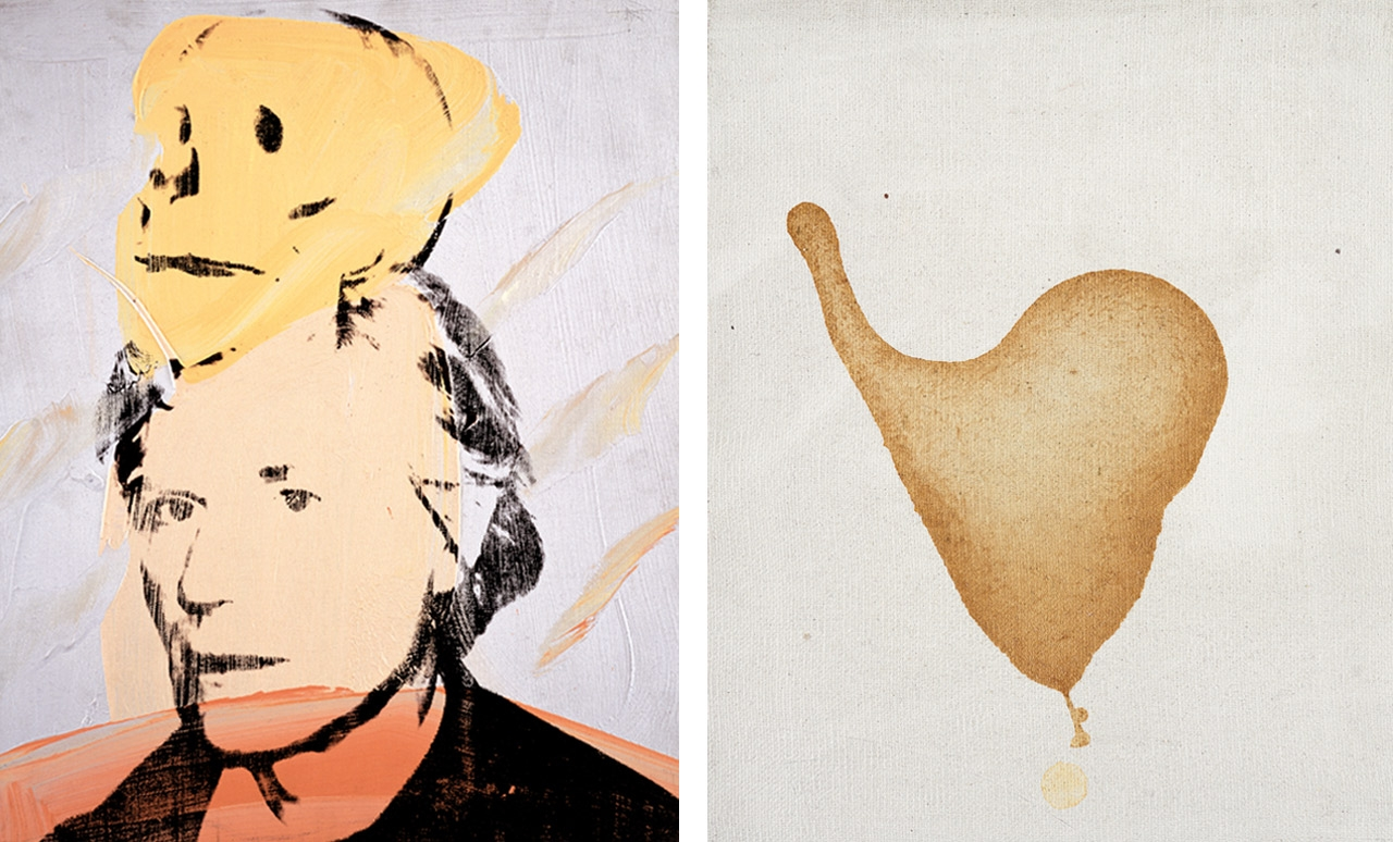 Left: Andy Warhol, Self-Portrait with Skull, 1978. Right: Andy Warhol, Cum, 1977–78. Photos: Phillips/Schwab. Both © The Andy Warhol Foundation for the Visual Arts, Inc., New York. Both courtesy of The Andy Warhol Museum, Pittsburgh and the Founding Collection.