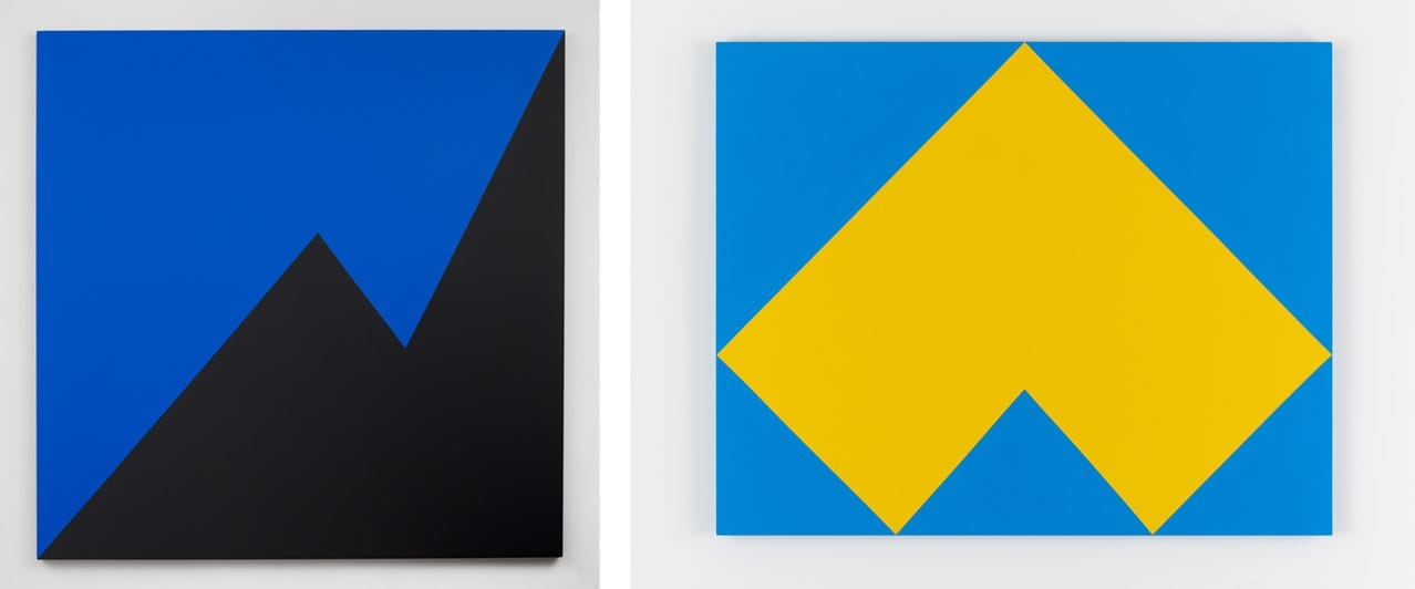 Left: Carmen Herrera, Nocturne, 2016. Right: Carmen Herrera, Arco, 2018. Both © Carmen Herrera. Both courtesy of Lisson Gallery