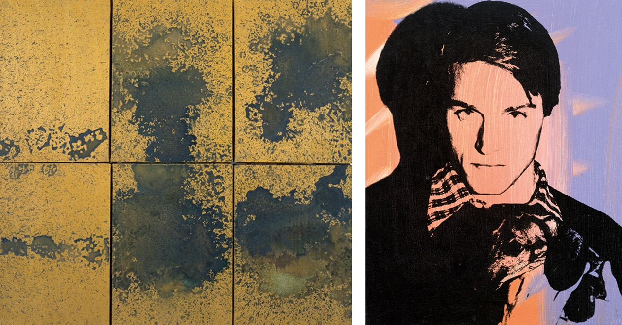 Left: Andy Warhol, Oxidation, 1977–78. Photo: Phillips/Schwab. © The Andy Warhol Foundation for the Visual Arts, Inc., NY. Courtesy of the Collection Norman and Norah Stone, San Francisco.  Right: Andy Warhol, Jed Johnson, 1978. Photo: Kevin Ryan. © The Andy Warhol Foundation for the Visual Arts, Inc., New York. Courtesy of The Andy Warhol Museum, Pittsburgh and the Founding Collection.