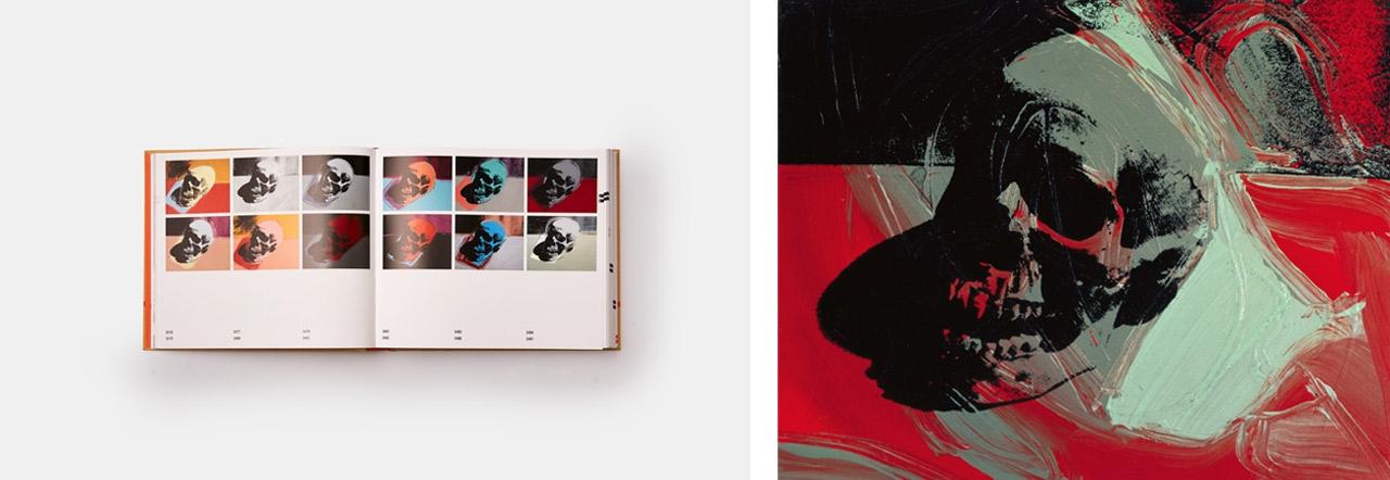 Left: Open pages of The Andy Warhol Catalogue Raisonné, Paintings 1976-1978 - Volume 5. Right: Andy Warhol, Skull, 1976.