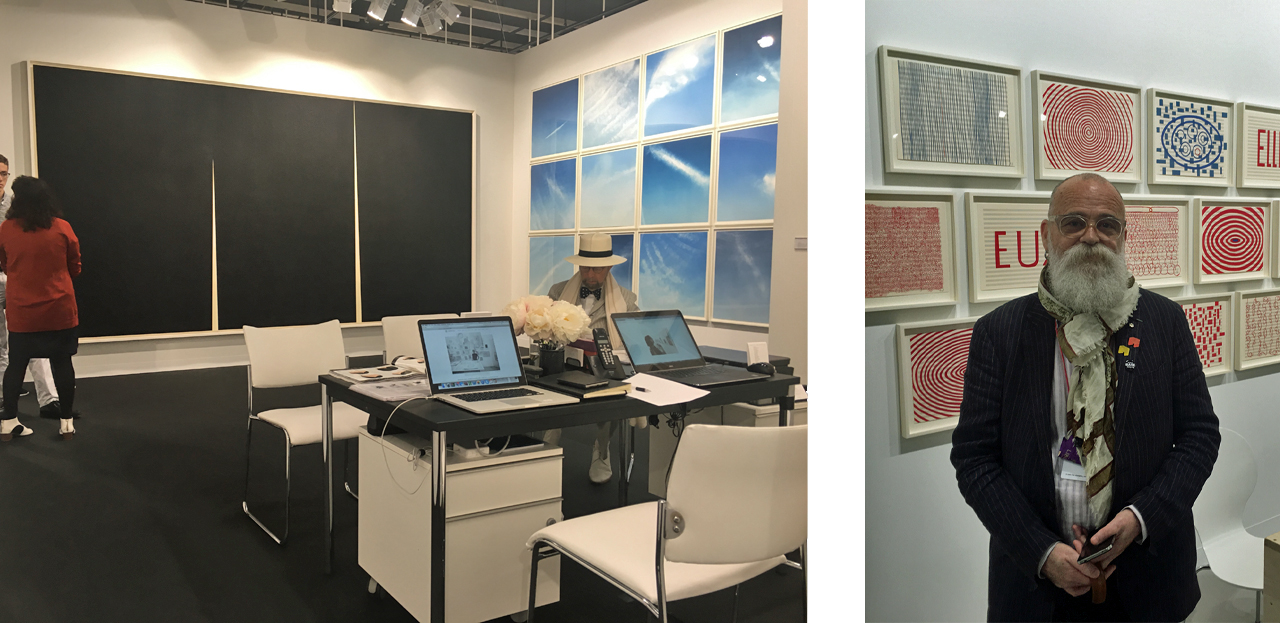 Gemini G.E.L.'s booth at Art Basel, Right: AA Bronson on his 70th birthday