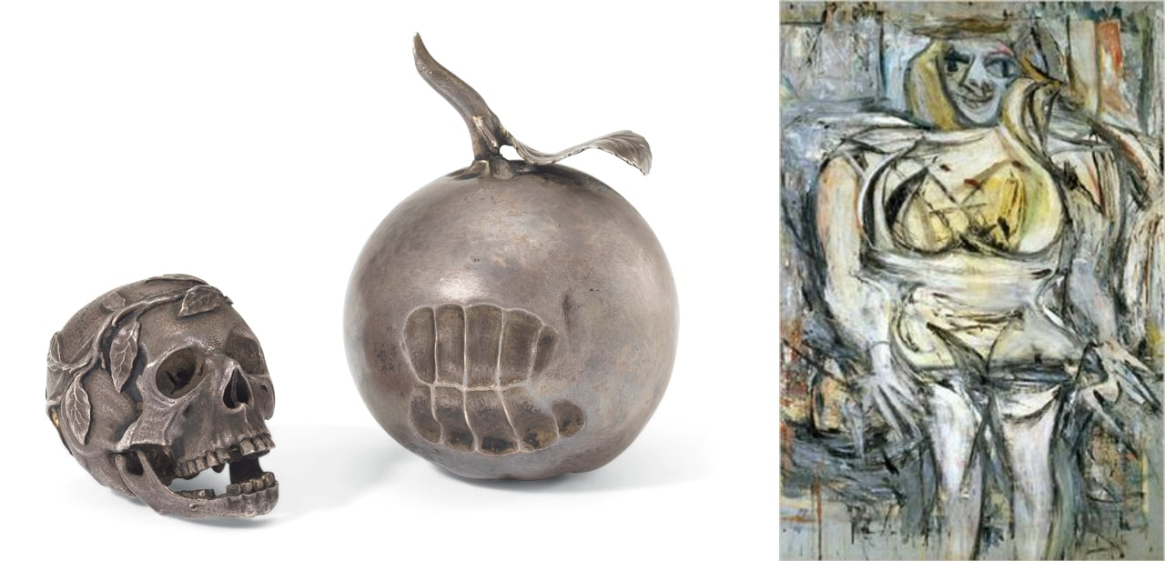 Left: 17th century silver apple with bite marks. Right: Willem de Kooning, Woman III, 1953. Images: © Christie's, London