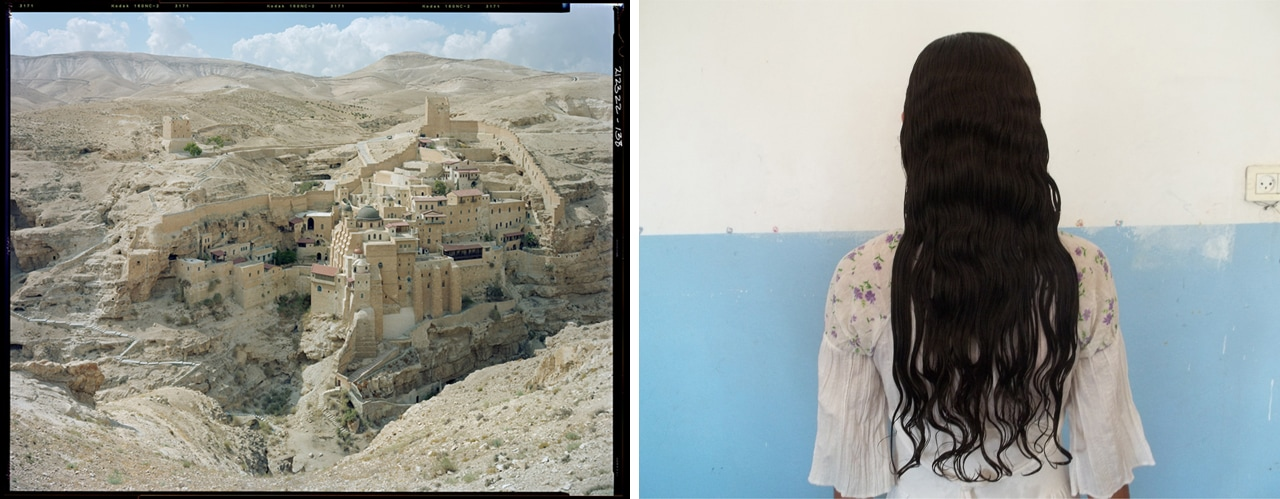 Left: Stephen Shore, St. Sabas Monastery, Judean Desert, 2009. Image: © Stephen Shore. Right: Wendy Ewald, At Home (photograph by Amal), 2013. Image: © Wendy Ewald