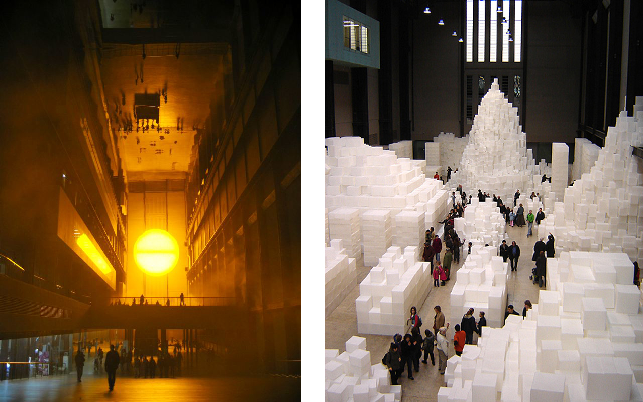 Left: Olafur Eliasson's Weather Project, 2003. Turbine Hall. Right: Rachel Whiteread's EMBANKMENT, 2005. Both via Wikimedia Commons
