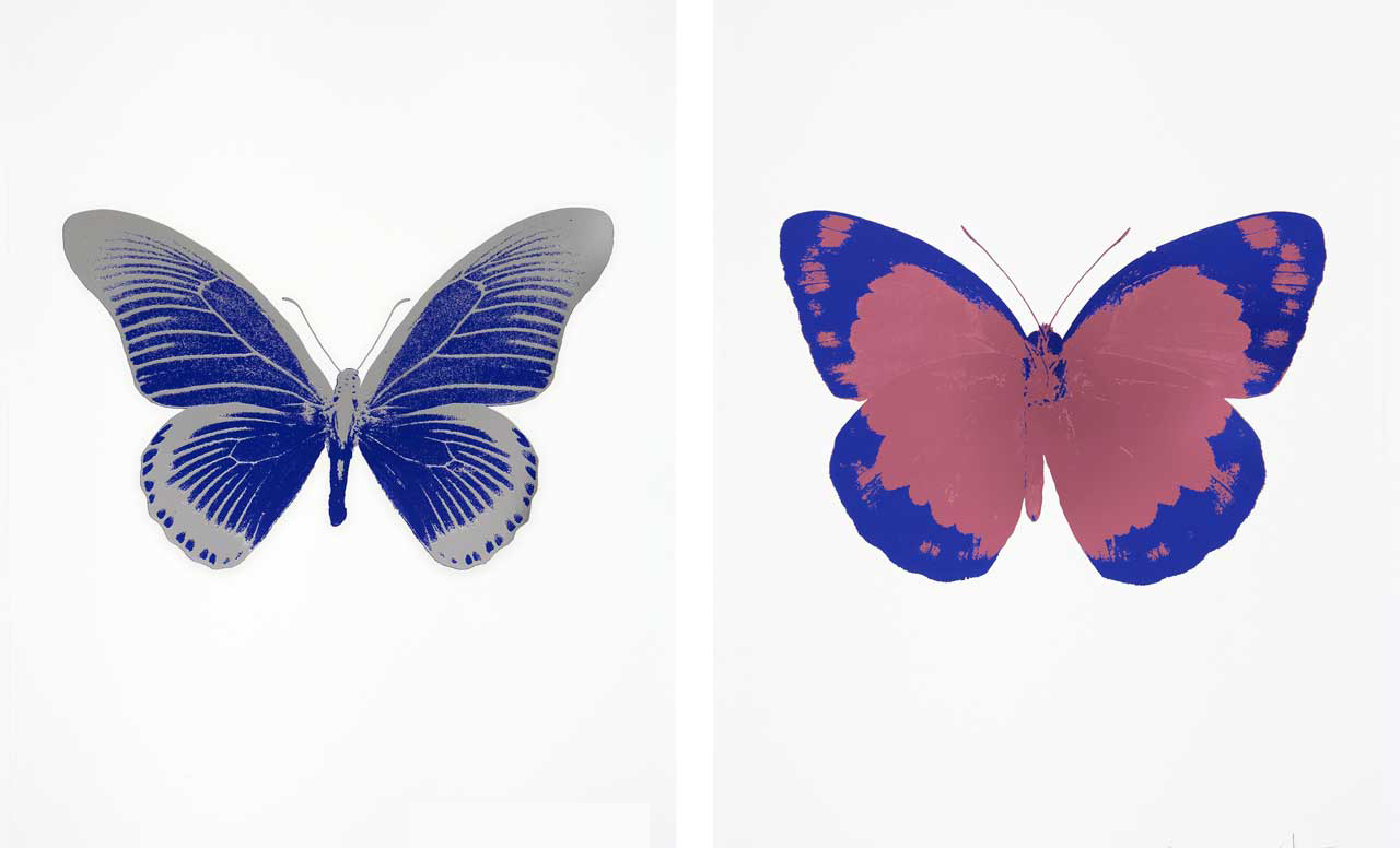 Left: Damien Hirst, The Souls IV - Westminster Blue/Silver Gloss, 2010, 2 color foil block. Right: Damien Hirst, The Souls II - Loganberry Pink/Westminster Blue/Blind Impression, 2010, 2 color foil block