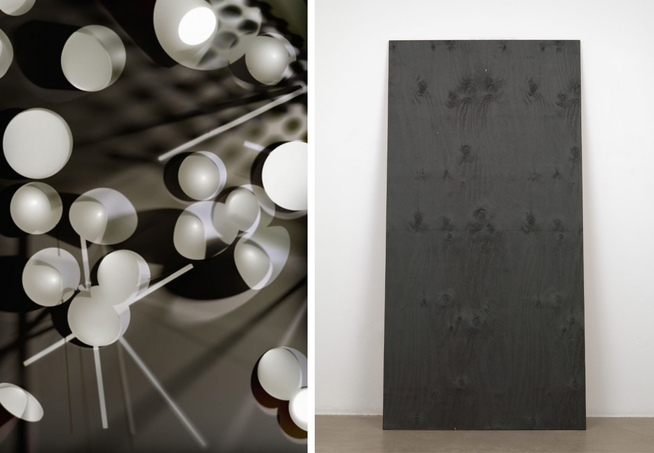 Left: Thomas Ruff. phg.06. 2012. Chromogenic color print. © 2019 Thomas Ruff / Artists Rights Society (ARS), New York / VG Bild-Kunst, Germany. Right: Wade Guyton. Untitled. 2009. Digital print on plywood. © 2019 Wade Guyton