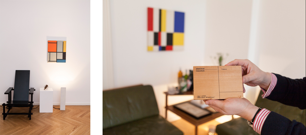 On the left: Gerrit Rietveld Chair for Schröder house, 1917, and Piet Mondrian Composition 1921 (both replicas). On the right: Joseph Beuys: Holzpostkarte, 1974, 1st edition published by Edition Klaus Staeck