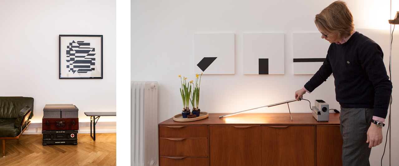 On the left: Victor Vasarely Spiontum (1956/1983) by Edition Denise Rene. On the right: Jo Niemeyer's lamp Tubo by Belux under Kipp Serie, 1989. Images: © Jule Spaete