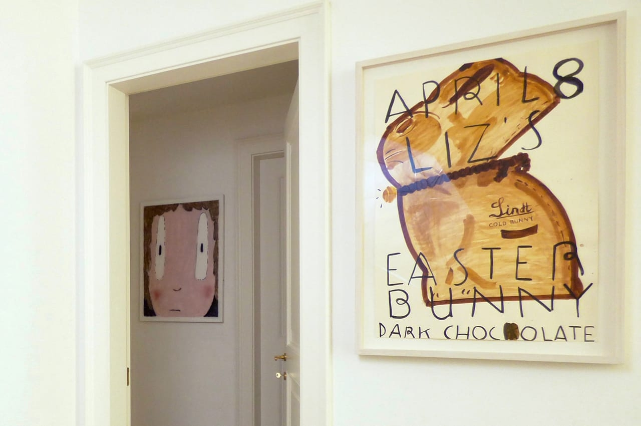 From left to right: Felix Treadwell's Junko II and Rose Wylie's Easter Bunny. Image: © Anna Fargher