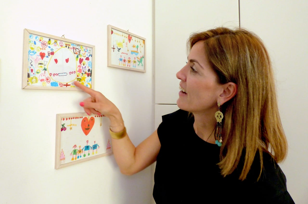 Tiziana Castelluzzo with her seven-year-old son's work.