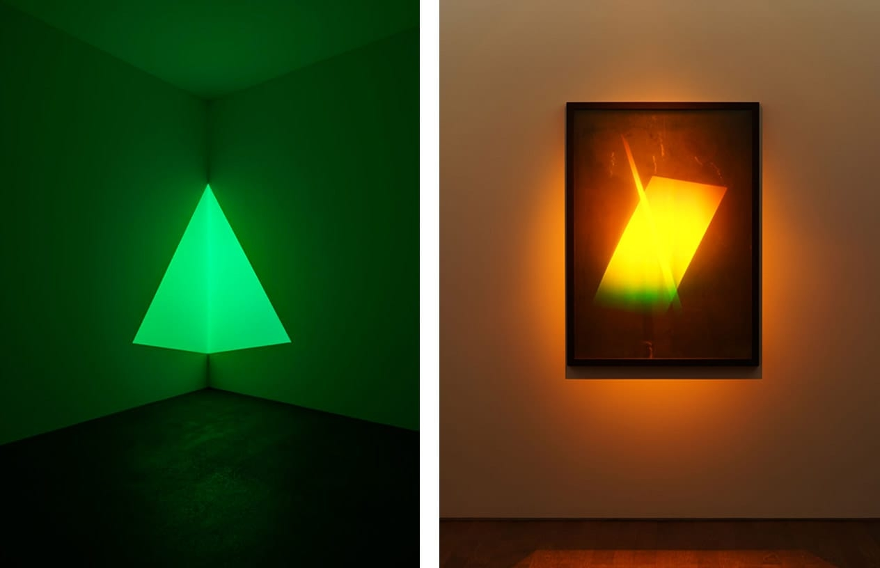 Left: James Turrell, Raethro Green, 1968. Right: James Turrell, Hologram. Photos: Florian Holzherr. © James Turrell