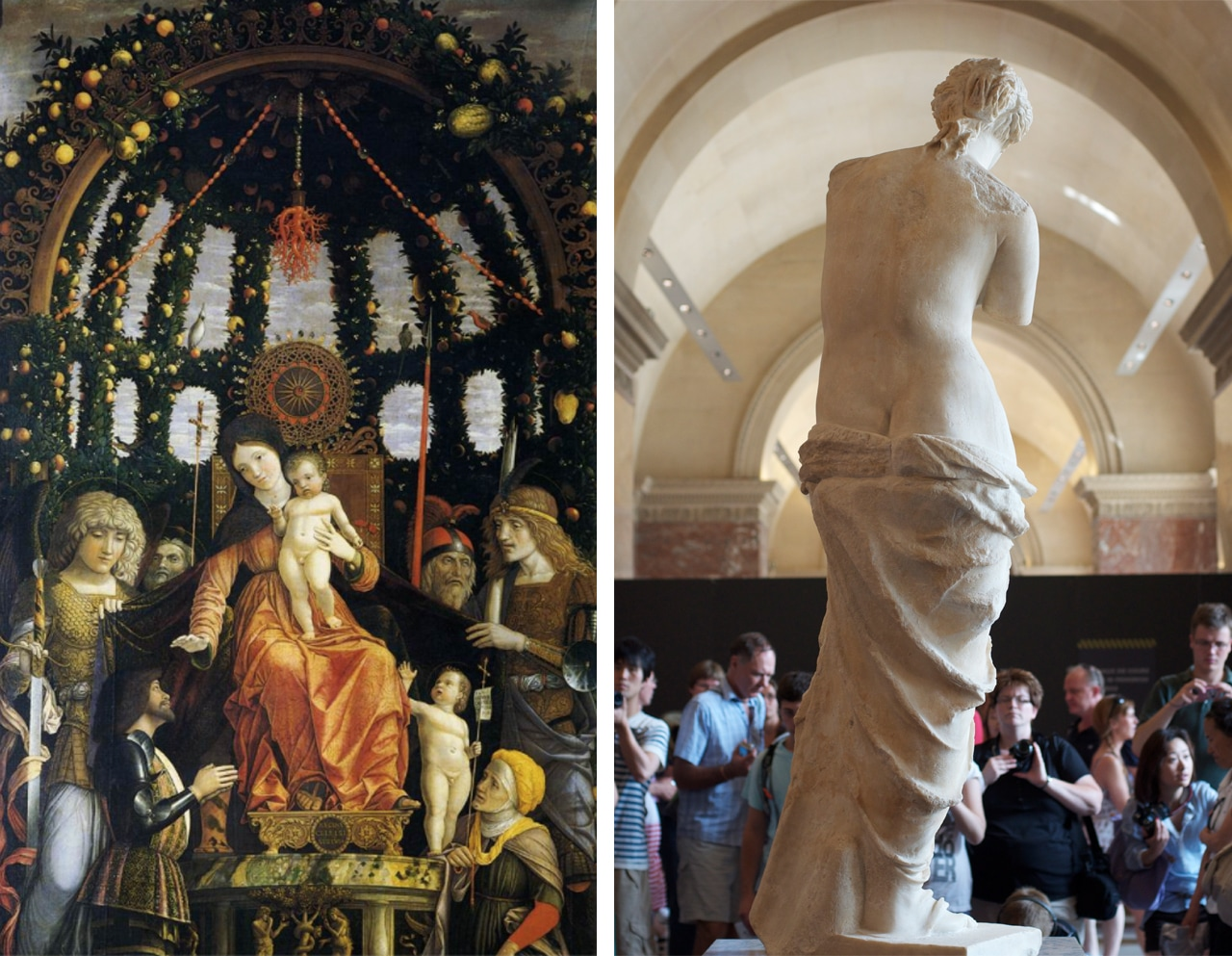 Left: The Virgin of Victory, 1496. Andrea Mantegna. Right: The Venus de Milo, attributed to Alexandros of Antioch. Images: via Wikipedia Commons