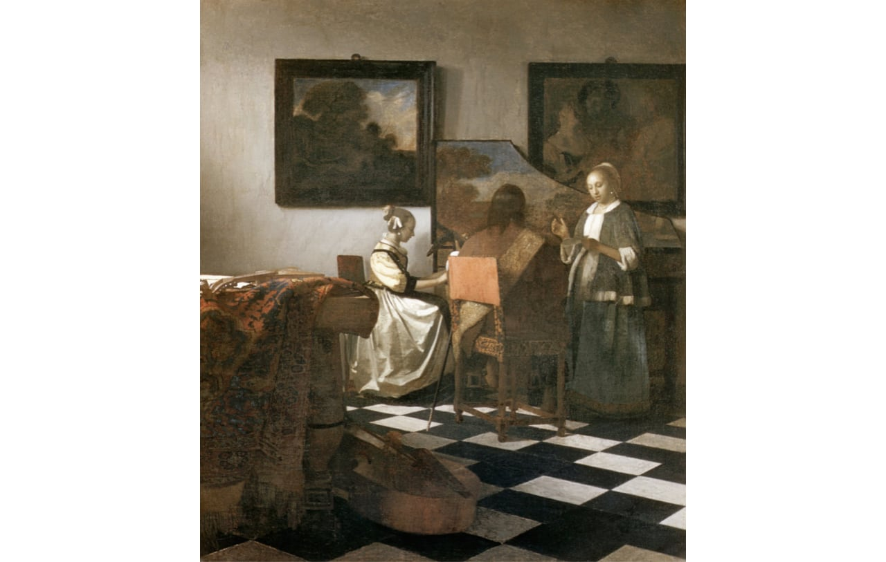 Jan Vermeer, The Concert, 1665. Historically located in the Dutch Room at the Isabella Stewart Gardner Museum