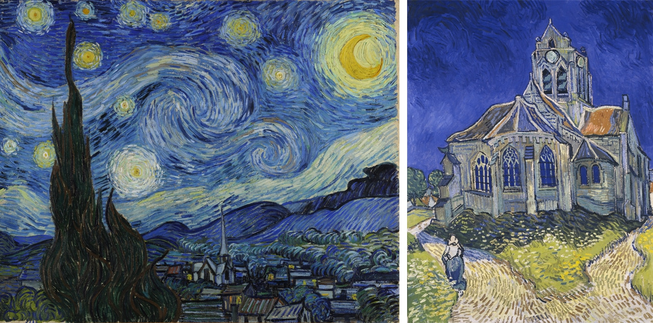 On the left, The Starry Night, 1889 and on the right The Church at Auvers June 1890. Images: via Wikimedia Commons