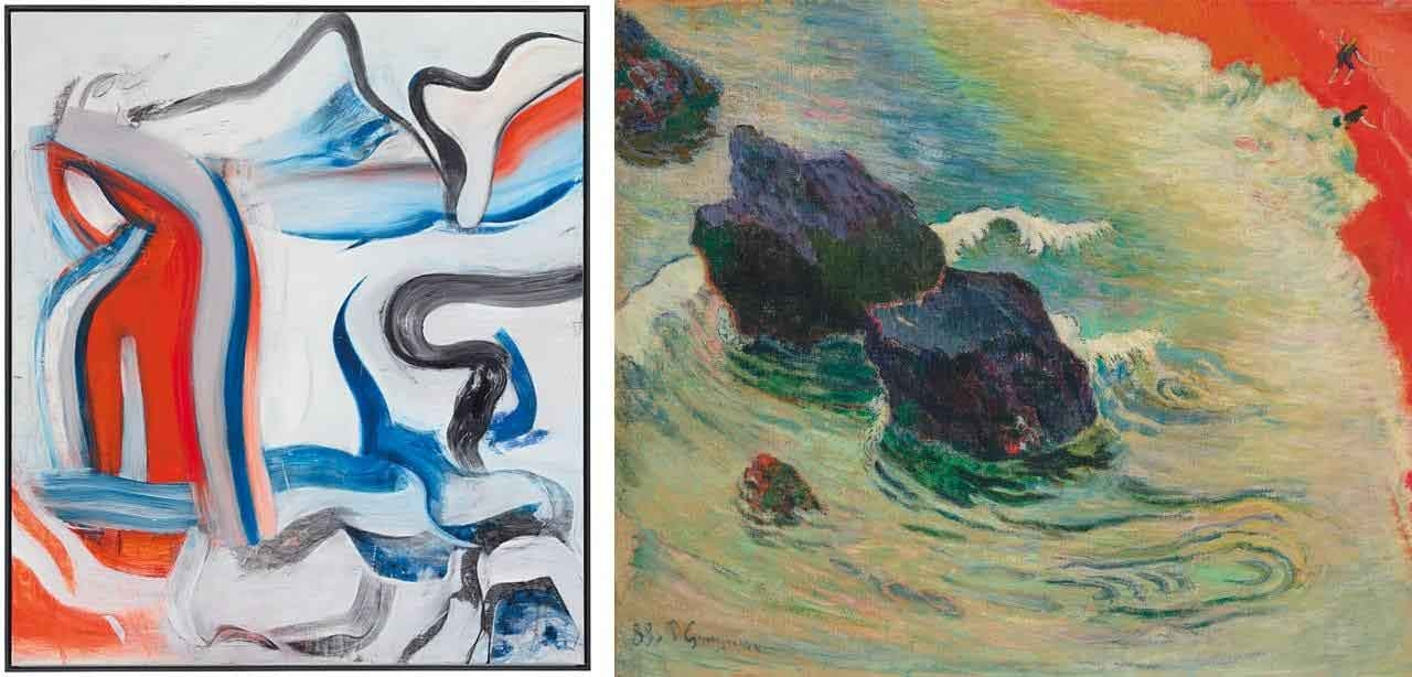 On the left Willem de Kooning, Untitled XIX and on the right Paul Gauguin, La Vague