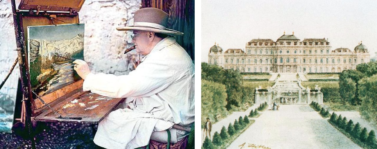 Left: Winston Churchill painting. Via Wikimedia Commons. Right: Adolf Hitler, Standesamt München. Via Wikimedia Commons